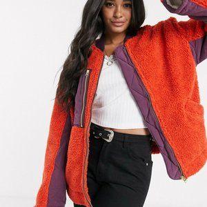 Free People Orange Rivington Sherpa Jacket L